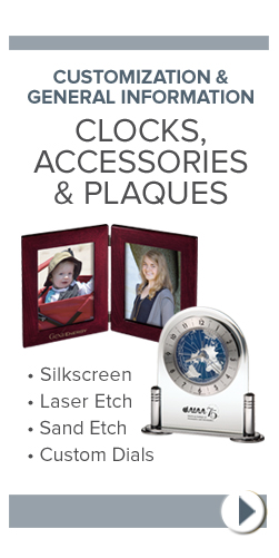 General Information - Clocks, Accessories & Plaques
